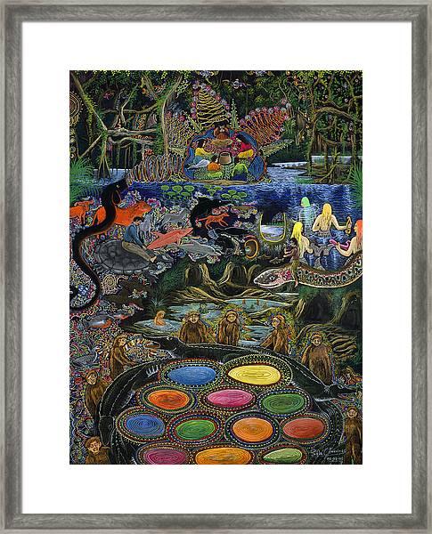 Framed Print featuring the painting Yacuruna Huasi by Pablo Amaringo