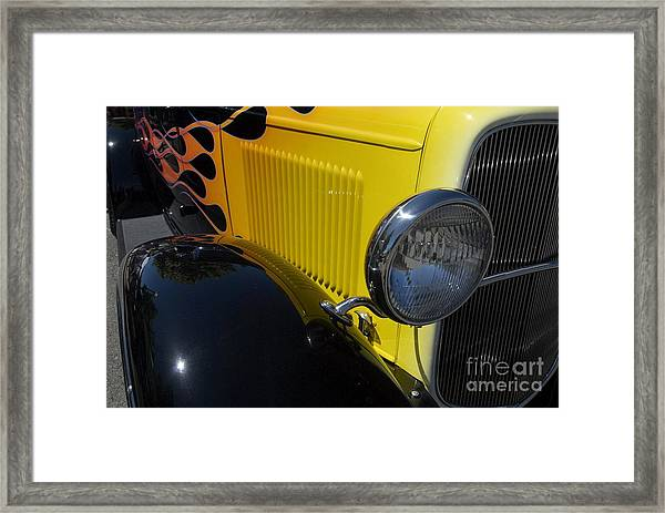 Yellow Flame Vintage Car Framed Print