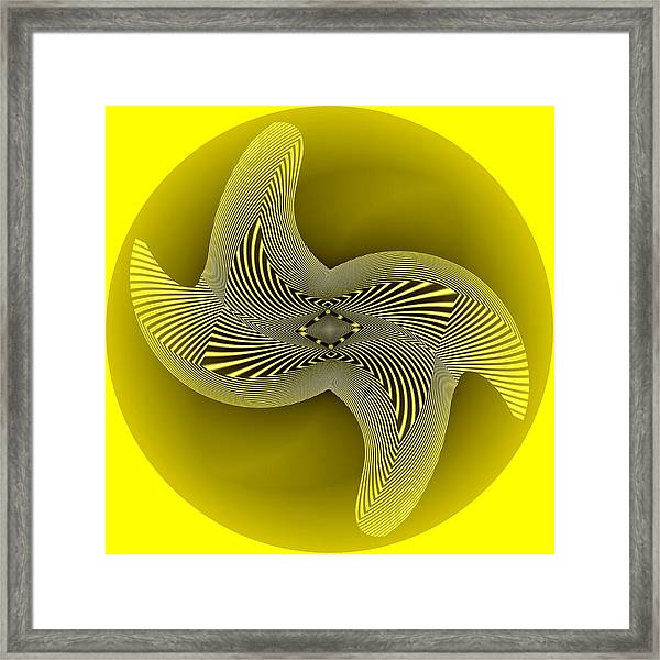 Framed Print featuring the digital art Yellow Omeba by Visual Artist Frank Bonilla