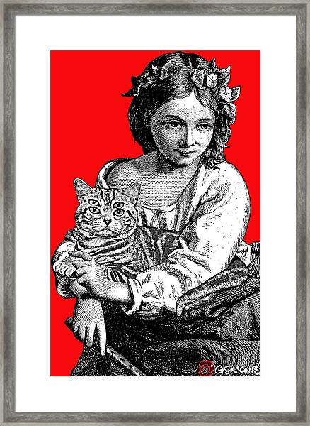Young Girl With Cat Framed Print