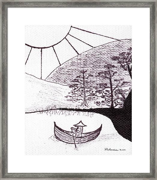 Zen Sumi Asian Lake Fisherman Black Ink On White Canvas Framed Print