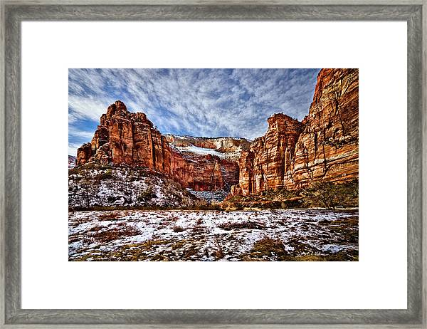 Zion Canyon In Utah Framed Print