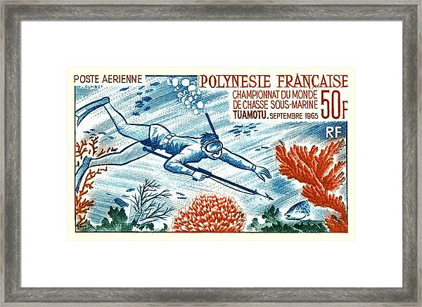 1965 French Polynesia Spearfishing Postage Stamp Framed Print