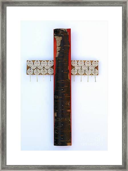 Bark Cross With Key Tags Framed Print