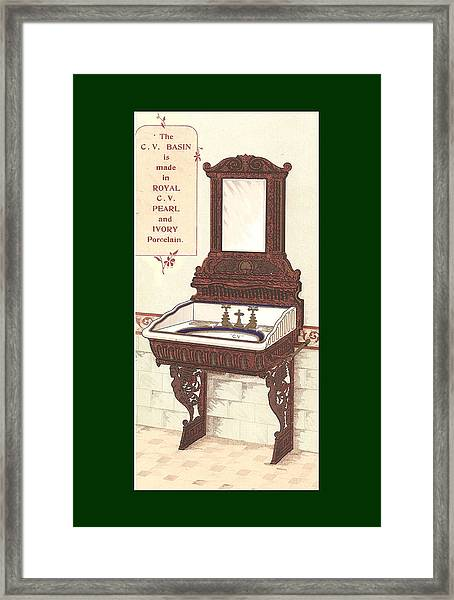 Framed Print featuring the mixed media  Bathroom Picture Wash Stand Two by Eric Kempson