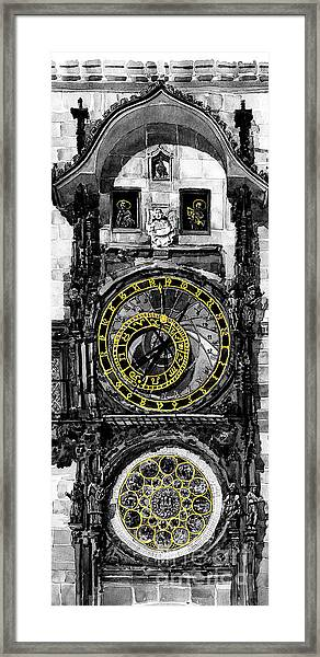 Bw Prague The Horologue At Oldtownhall Framed Print