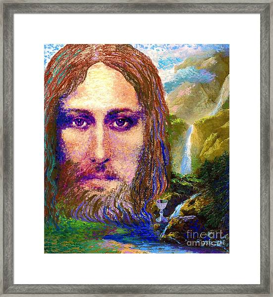 Contemporary Jesus Painting, Chalice Of Life Framed Print