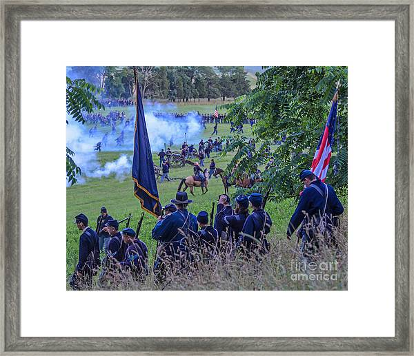 Gettysburg Union Artillery And Infantry 7459c Framed Print