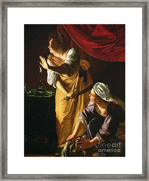 Judith And Maidservant With The Head Of Holofernes Framed Print