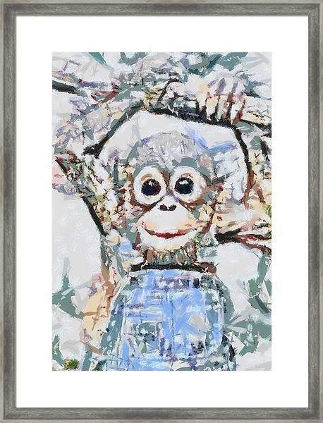 Monkey Rainbow Splattered Fragmented Blue Framed Print