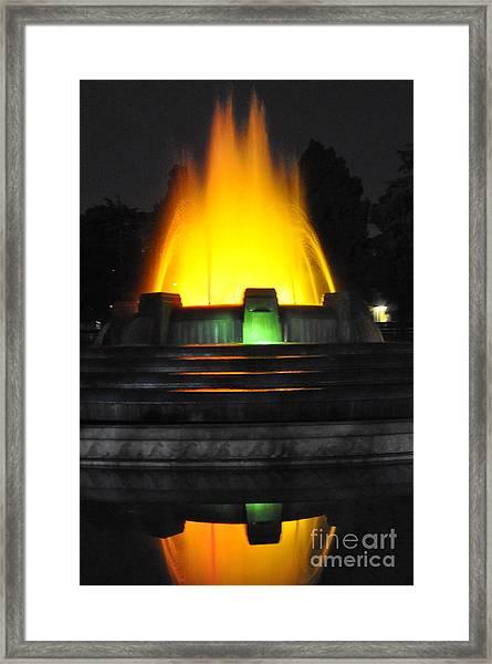 Mulholland Fountain Reflection Framed Print