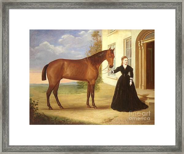 Portrait Of A Lady With Her Horse Framed Print