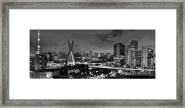 Sao Paulo Iconic Skyline - Cable-stayed Bridge - Ponte Estaiada Framed Print