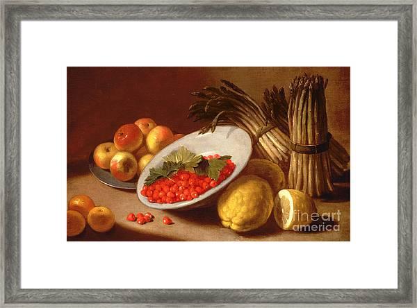 Still Life Of Raspberries Lemons And Asparagus  Framed Print