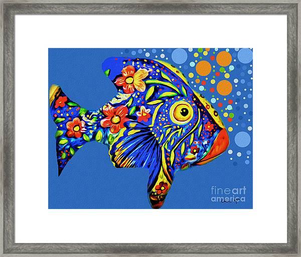Framed Print featuring the digital art  Tropical Fish by Eleni Mac Synodinos