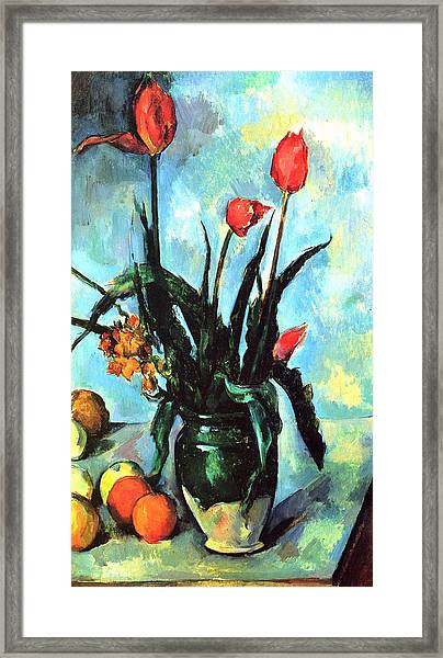 Tulips In A Vase Framed Print