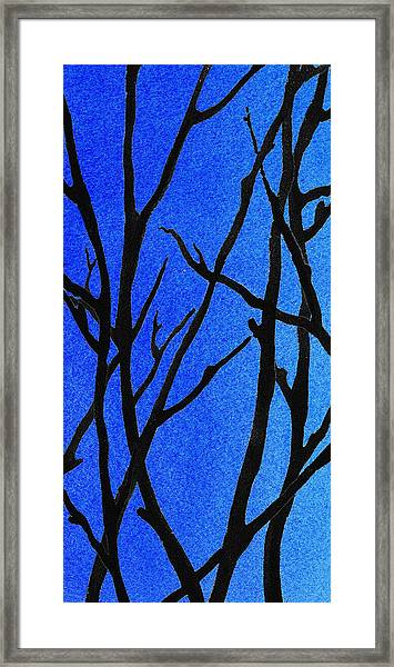 Ultramarine Forest Winter Blues I Framed Print