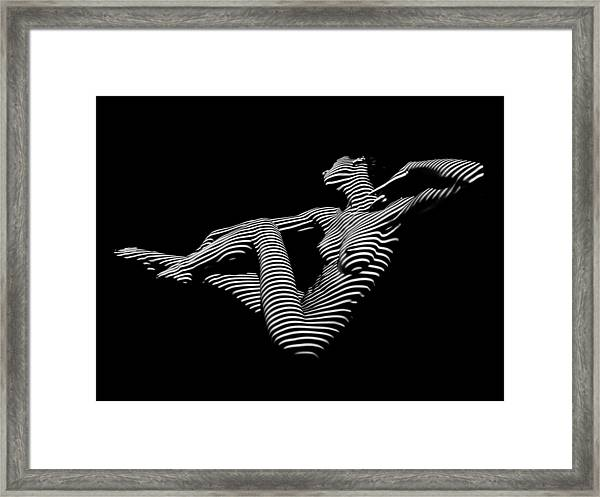 0043-dja Bw Zebra Woman Striped Girl Topographic Abstract Sensual Body Art Framed Print
