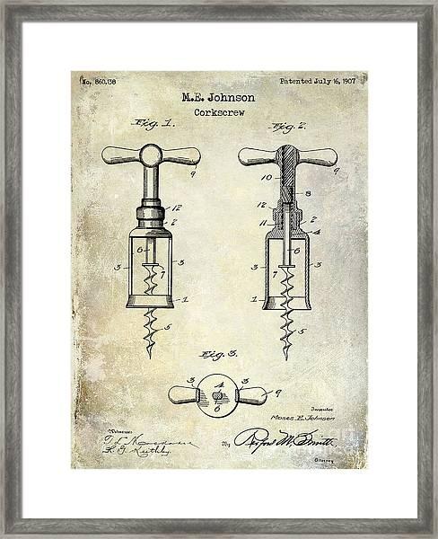 1907 Corkscrew Patent  Framed Print