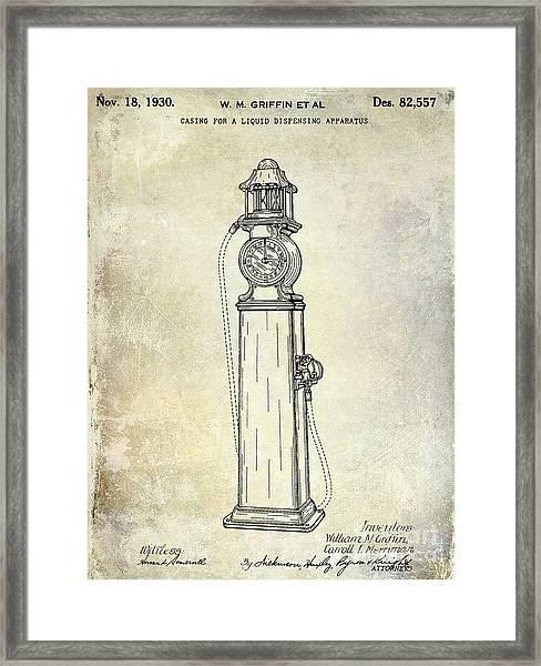 1930 Gas Pump Patent  Framed Print
