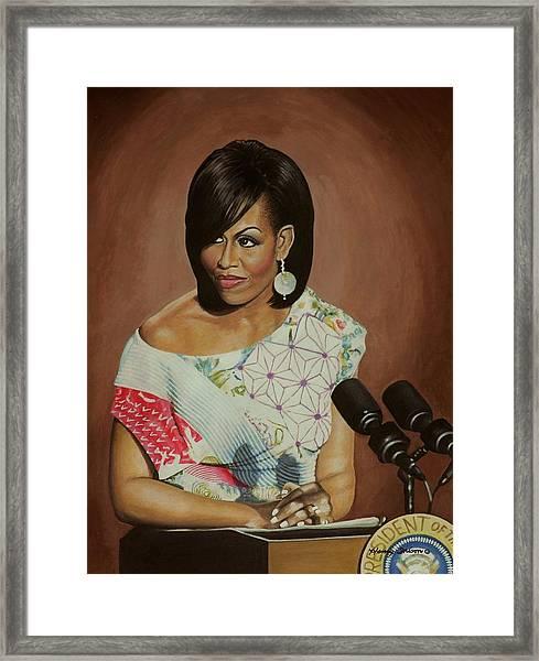 1st Lady Michelle Obama Framed Print by Henry Frison