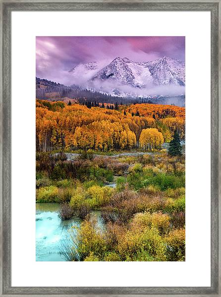 Framed Print featuring the photograph A Fall Snow At Sunrise by John De Bord