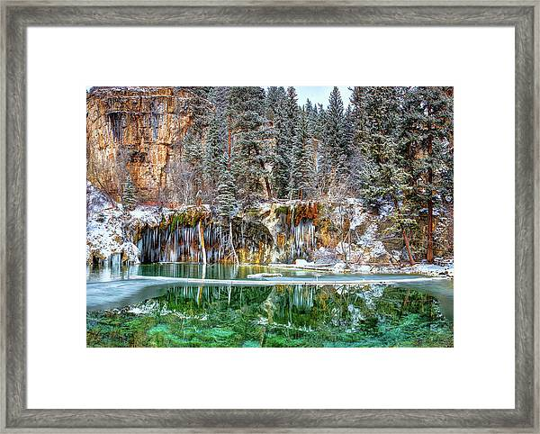 Olena Art Serene Chill Hanging Lake Photograph The Gem Of Glenwood Canyon Colorado Framed Print