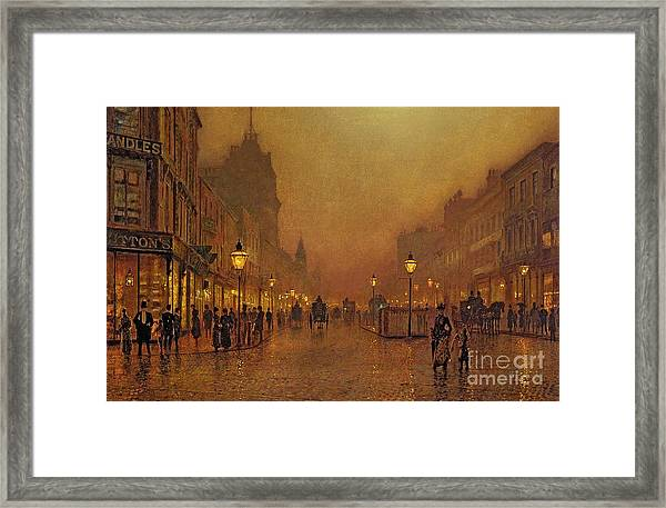 A Street At Night Framed Print
