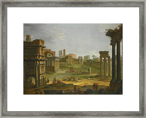 A View Of The Forum With The Campo Vaccino Framed Print