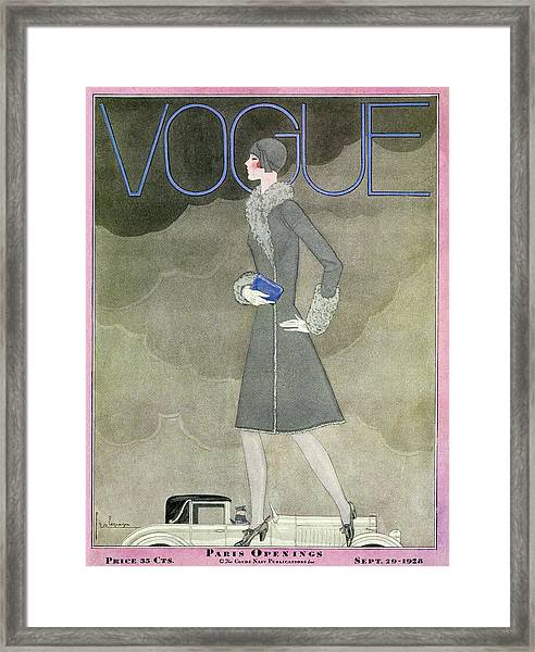 A Vintage Vogue Magazine Cover From 1928 Framed Print