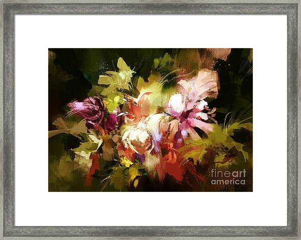 Framed Print featuring the painting Abstract Flowers by Tithi Luadthong