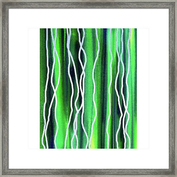 Abstract Lines On Green Framed Print