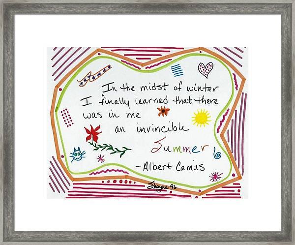 Albert Camus Doodle Quote Framed Print