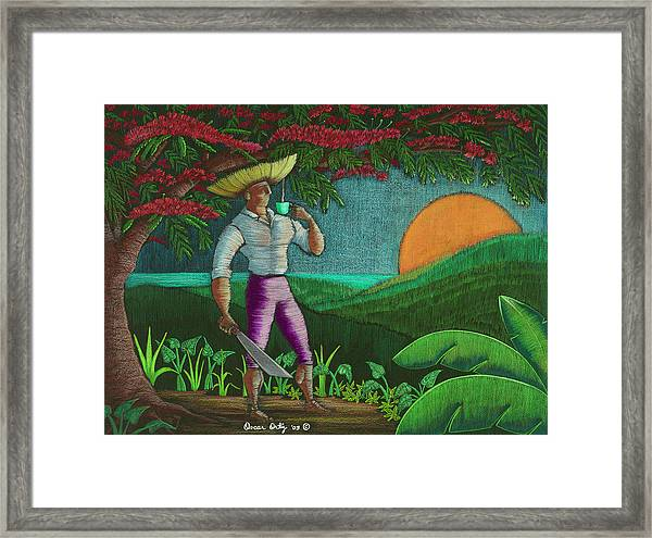 Framed Print featuring the painting Amanecer En Borinquen by Oscar Ortiz