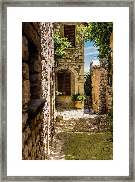 An Alley In Saint Paul De Vence, South Of France. Framed Print