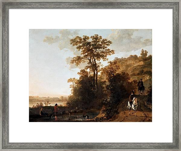 An Evening Ride Near A River Framed Print