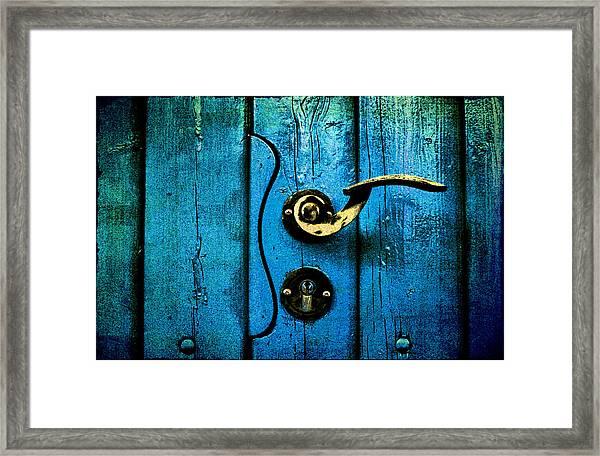Ancient Blue Door Framed Print