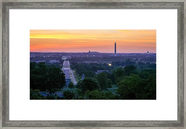 Arlington Sunrise Framed Print by Michael Donahue