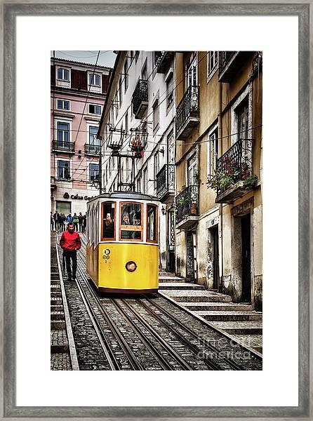 Ascensor Da Bica, Lisbon, Portugal Framed Print