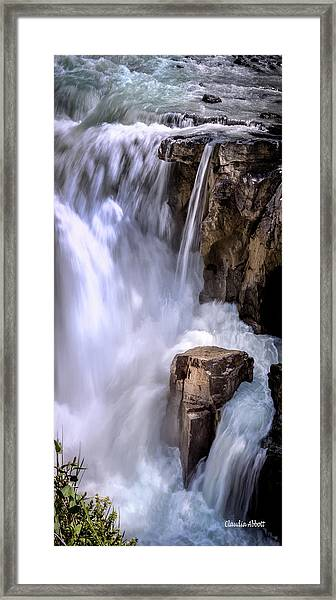 Framed Print featuring the photograph Athabasca Falls by Claudia Abbott