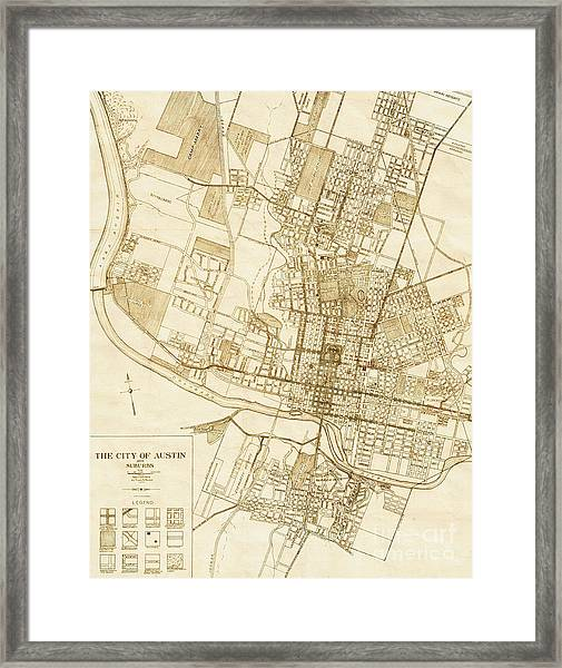 Austin Texas Vintage City Map Framed Print