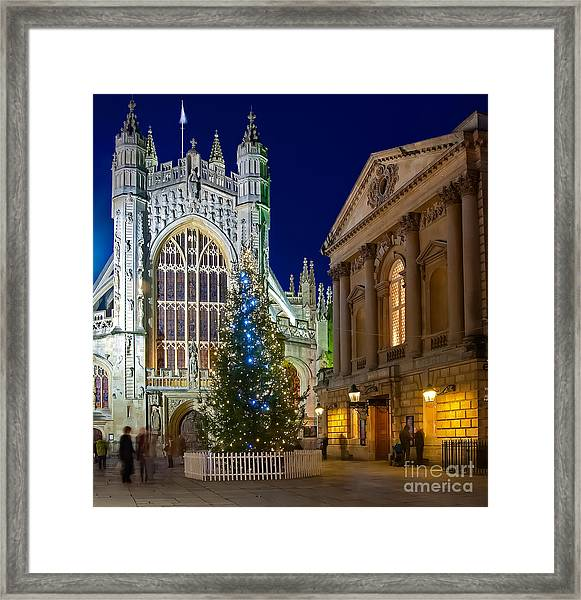 Bath Abbey At Night At Christmas Framed Print
