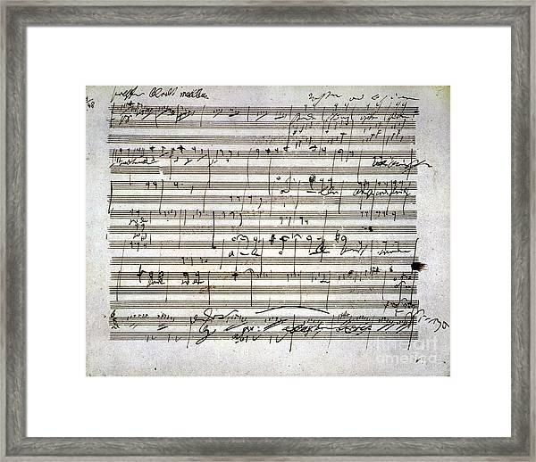 Beethoven Manuscript Framed Print