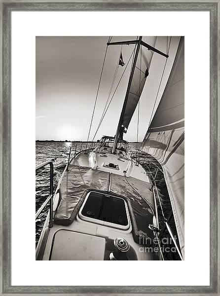 Beneteau 49 Sailing Yacht Close Hauled Charleston Sunset Sailboat Framed Print