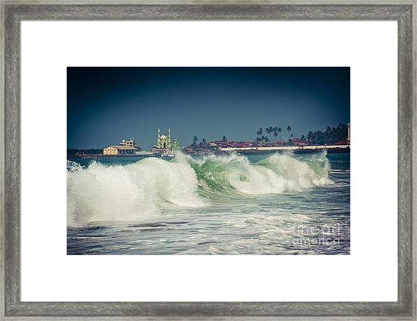 Framed Print featuring the photograph Big Wave On The Coast Of The Indian Ocean Kerala India by Raimond Klavins