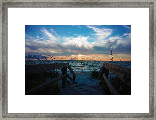Boardwalk At Delnor-wiggins Pass State Park Framed Print