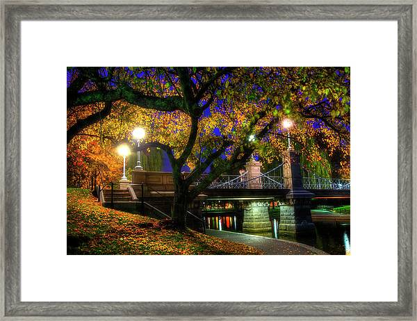 Boston Public Garden Lagoon Bridge In Autumn Framed Print