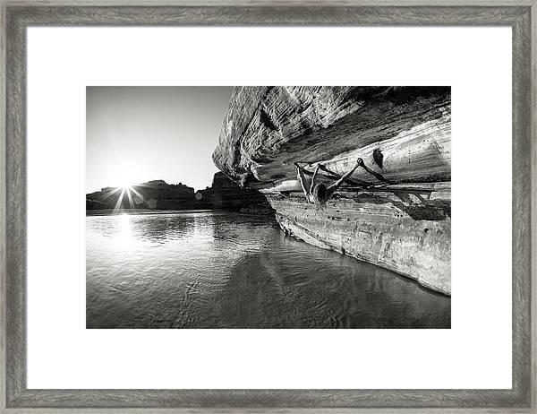Bouldering Above River Framed Print