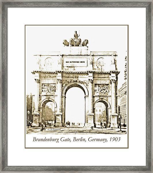 Brandenburg Gate, Berlin Germany, 1903, Vintage Image Framed Print