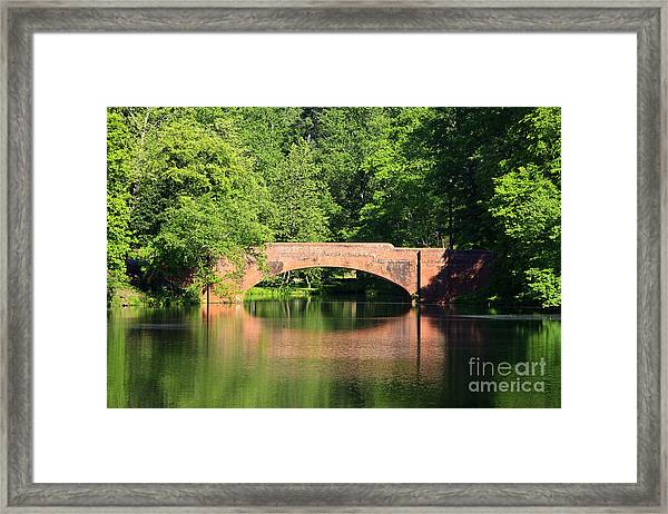 Bridge Reflection In The Spring Framed Print